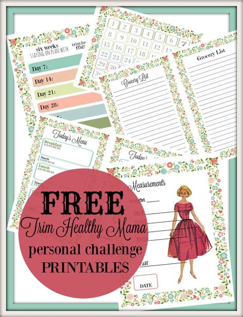 printable thm recipes trim healthy mama personal challenge free printables made