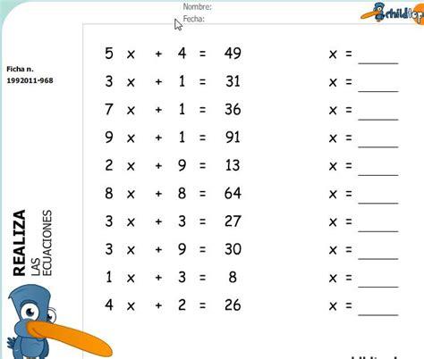 inecuaciones para primer grado primaria fichas ecuaciones de primer grado recurso educativo