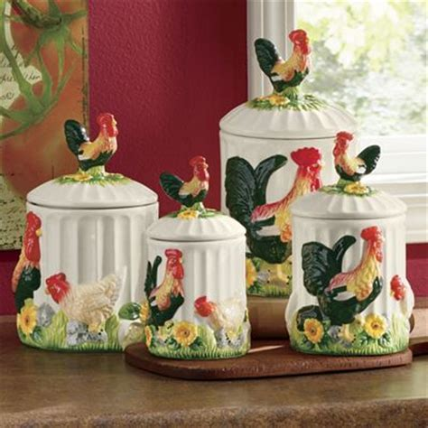 4 Piece 3 D Sunflower Rooster Canister Set from Seventh