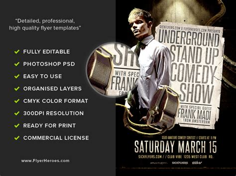 comedy show flyer template flyerheroes