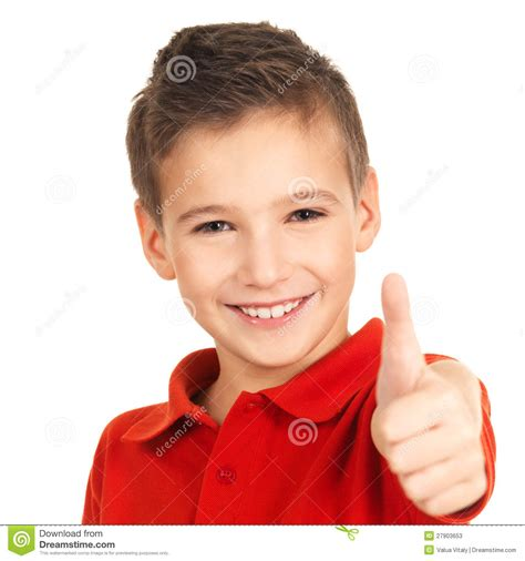 boy s happy boy showing thumbs up gesture stock photos image