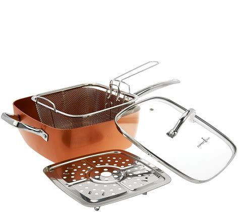 Fry Basket Rack by Copper Chef 9 5 Quot Square Pan With Lid Fry Basket Steam