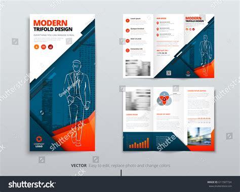 tri fold brochure design dl corporate stock vector