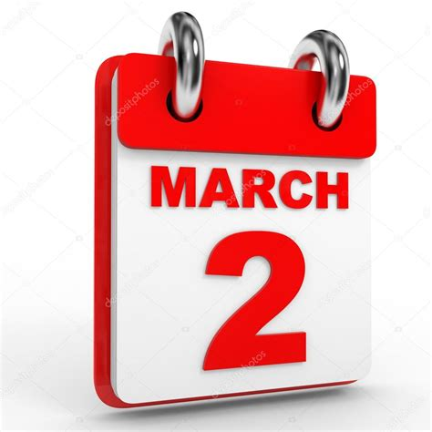 2 march calendar on white background stock photo