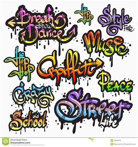 graffiti word set stock vector image  digital culture