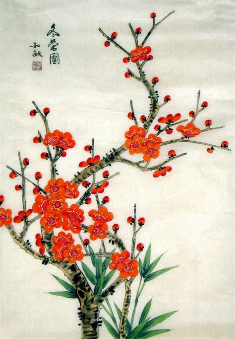 asian painting images ode to flowering crabapples painting
