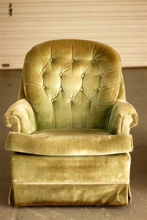 tufted  mint green velvet vintage swiveling rocker
