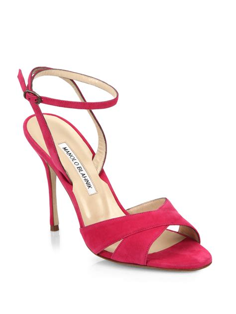 manolo blahnik sandals lyst manolo blahnik orlana suede ankle sandals in pink