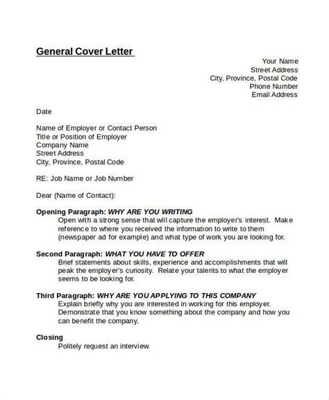 Email Cover Letter No Specific Position Sle Generic Cover Letter Letter Format Writing