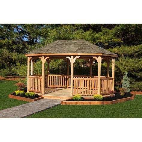 Cedar Gazebos For Sale Yardcraft Oval 18 Ft W X 12 Ft D Cedar Permanent Gazebo