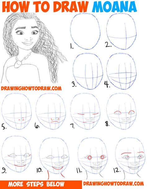 doodle drawing for beginners how to draw moana easy step by step drawing tutorial for