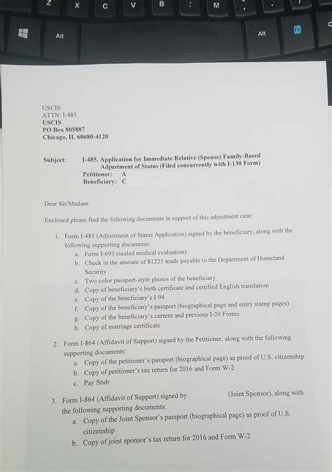 concurrent filing i 130 and i 485 cover letter our concurrent filing aos from f1 package suggestionis