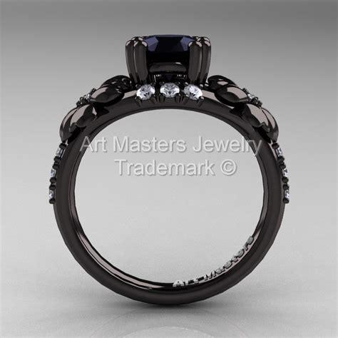 Black Moissanite 1 5 Ct nature inspired 14k black gold 1 0 ct black moissanite