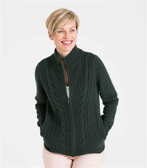 Zip Cardigan racing green wool blend womens cable zip cardigan