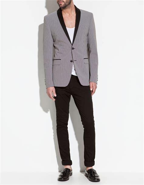 Blazer Zara zara blazer with shawl lapel in gray for blue lyst