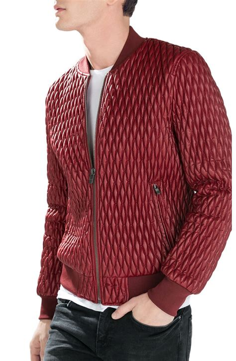 Mens Leather Quilted Bomber Jacket by S Quilted Faux Leather Bomber Jacket