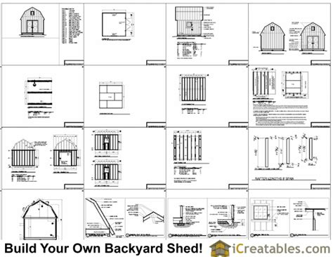 12x12 Shed Plans Free by 12x12 Gambrel Shed Plans 12x12 Barn Shed Plans