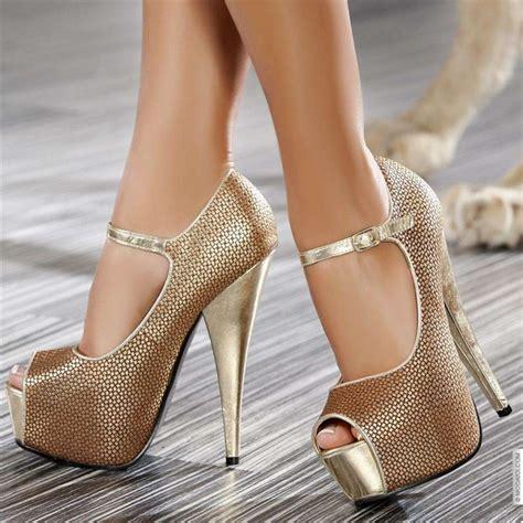 Gold High Heels   HeelsFans.com