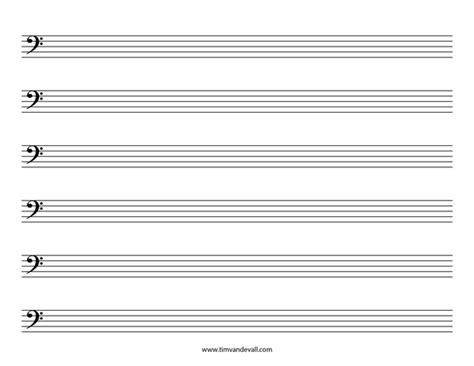 blank bass clef staff paper printable sheet music pdf