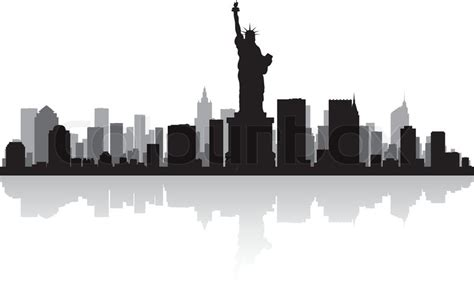 new york usa city skyline silhouette vector illustration