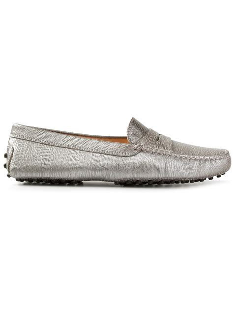 silver loafers metallic tod s metallic loafers in metallic lyst