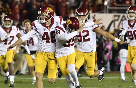 Usc kicker matt boermeester 39 celebrating his game winning kick in