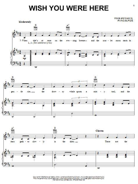 tutorial piano wish you were here wish you were here sheet music direct