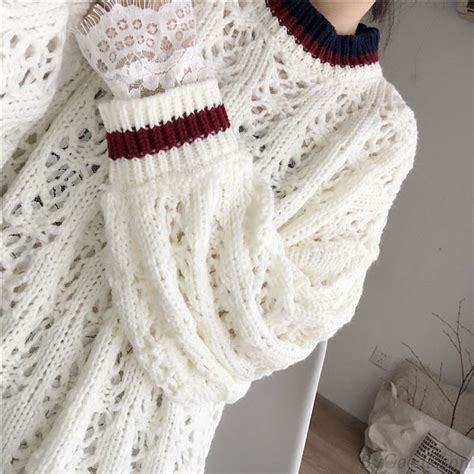 Jaket Sweater Flower Sweater Casual fashion hollowed out flower design sweater dress
