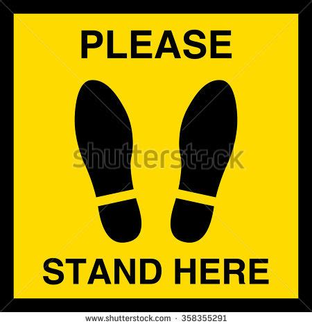 Stand Here by Stand Here Symbol Foot Sign Stock Vector 358355291