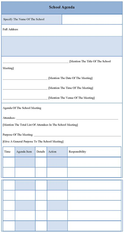 school template agenda template for school sle of school agenda