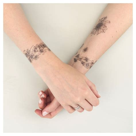 daisy chain wrist tattoo chain temporary kit nature by