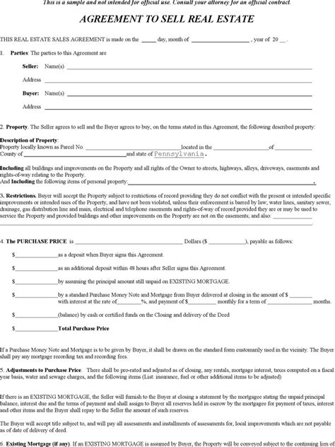 pennsylvania offer to purchase real estate form download