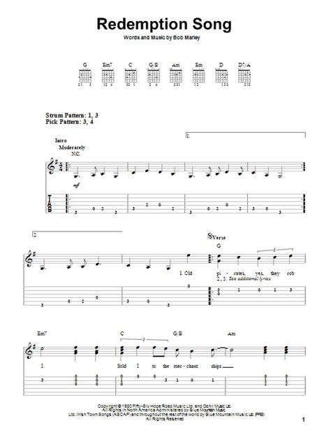 song tab redemption song by bob marley easy guitar tab guitar