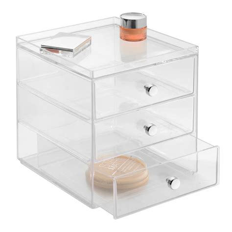 set of three acrylic drawers for makeup storage by jodie