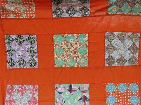 Orange Patchwork Quilt - 1950s vintage quilt top print cotton patchwork blocks