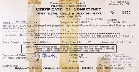 C.A. Form 242   Certificat of Competency to Drive a Motor