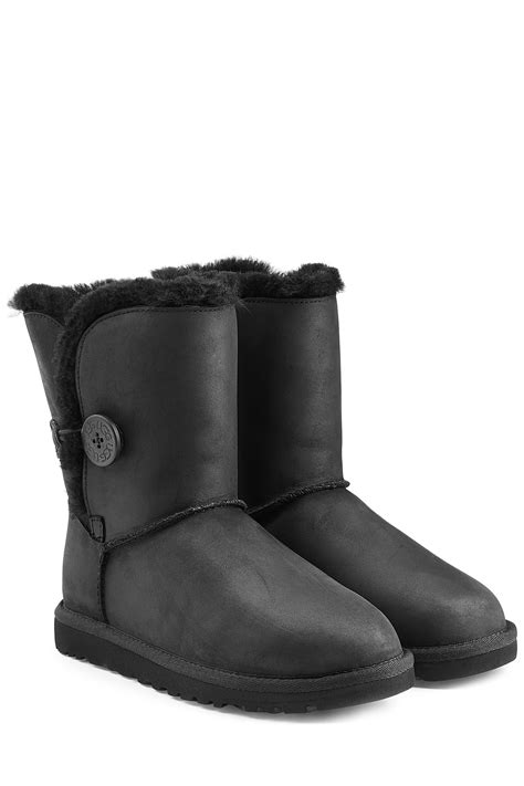 ugg boots bailey button lyst ugg bailey button leather boots in black