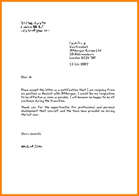 Resignation Letter Sle Uk by 8 How To Write Resign Letter Ledger Paper