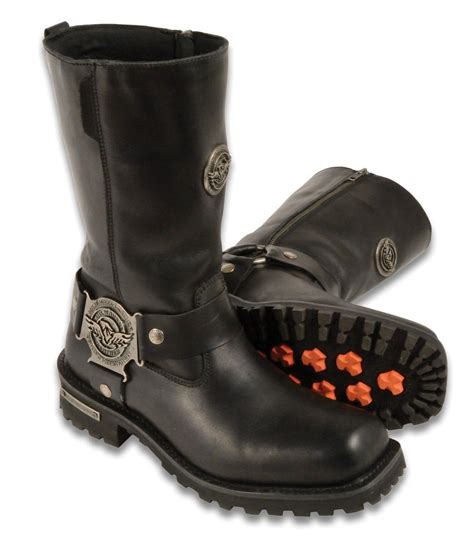 womens leather motorcycle boots milwaukee womens biker boots zip closure waterproof