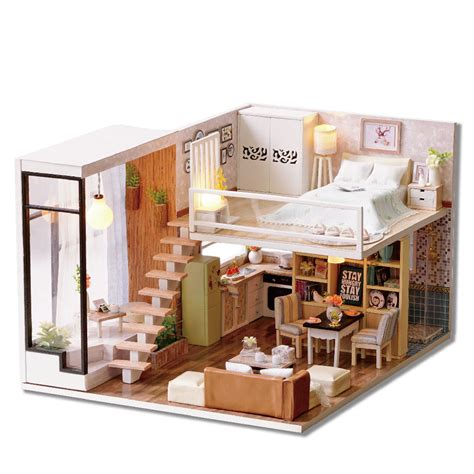 wooden dolls house with furniture wooden miniature dolls house doll house furniture diy kit voice control english 163