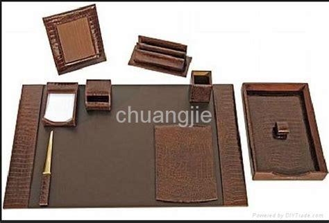office desk stationery set pu leather stationery desk set with 9 pcs cj1215