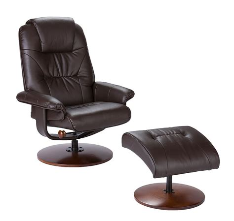 euro chair with ottoman euro style recliner and ottoman in brown leather