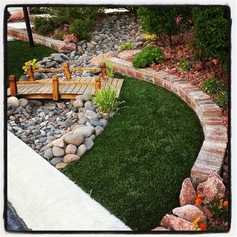 backyard dry river bed bridge and dry river bed front and back yard ideas