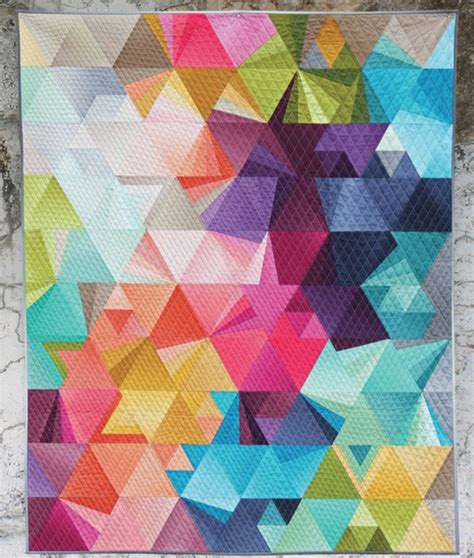 modern pattern quilted fabric ombre tessellation quilt pattern kit by alison glass and