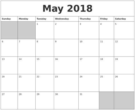 May 2018 Calendar May 2018 Blank Printable Calendar