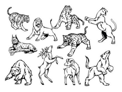 tato motif kartun garis seni motif hewan vektor pola vektor vektor gratis
