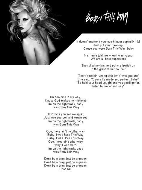 born lady gaga lyrics born this way lyrics part 1 by gaga fanno1 on deviantart
