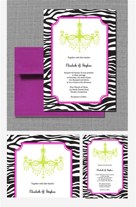 printable invitation kits com zebra chandelier wedding invitation wedding invitation
