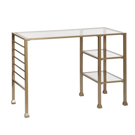 southern enterprises writing desk southern enterprises metal glass writing desk in gold ho3776