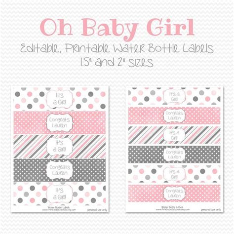 free printable baby cards templates water bottle items similar to water bottle labels pink and grey